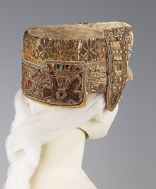 Russian headdress. Date - 19th century. Medium - silk, metal, linen. Brooklyn Museum Costume Collection at The Metropolitan Museum of Art