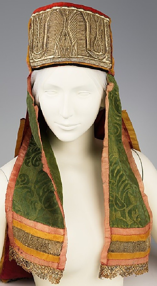 Russian headdress. Date - 19th century. Medium - silk, metal, paper. Brooklyn Museum Costume Collection at The Metropolitan Museum of Art