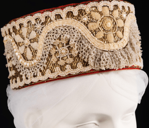 Russian headdress. Date - late 19th century. Medium - glass, metal, cotton, mother-of-pearl. Brooklyn Museum Costume Collection at The Metropolitan Museum of Art