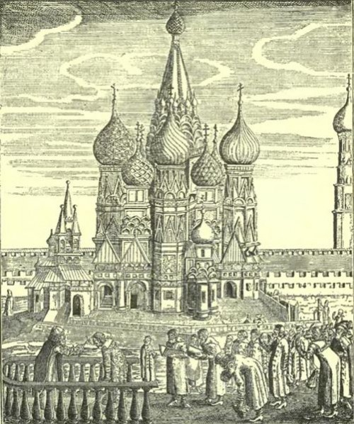 St. Basil's Cathedral on the engraving of XVII century