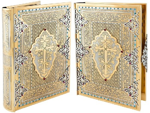 The Bible in salary. Handmade. Engraving, etching, nickel plating, gold plating, cutting, metal, inlay. Salary is decorated with ornaments and adorned with phianites