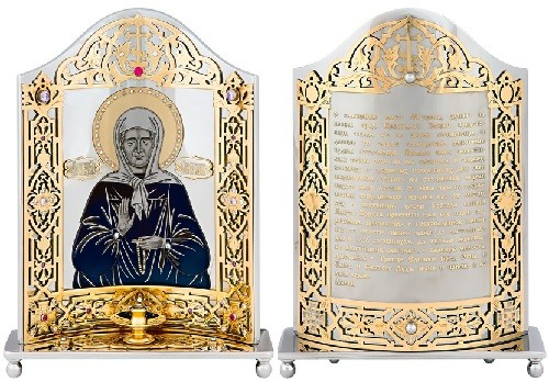 The icon on the stand, 'Matrona of Moscow'. Handmade. Brass, steel, artificial stone - phianites. Engraving, etching, nickel plating, gold plating, blued, cutting metal