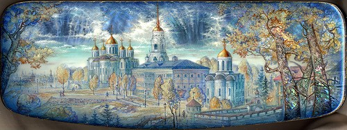 Town of Vladimir. Laquer paintings by Sergey Knyazev
