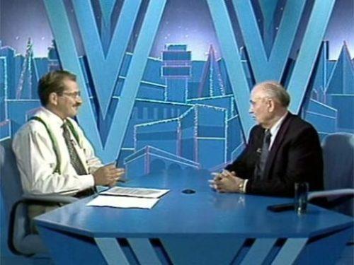Vladislav Listyev and Mikhail Gorbachev