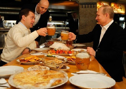 Presidents of Russia Putin and Medvedev
