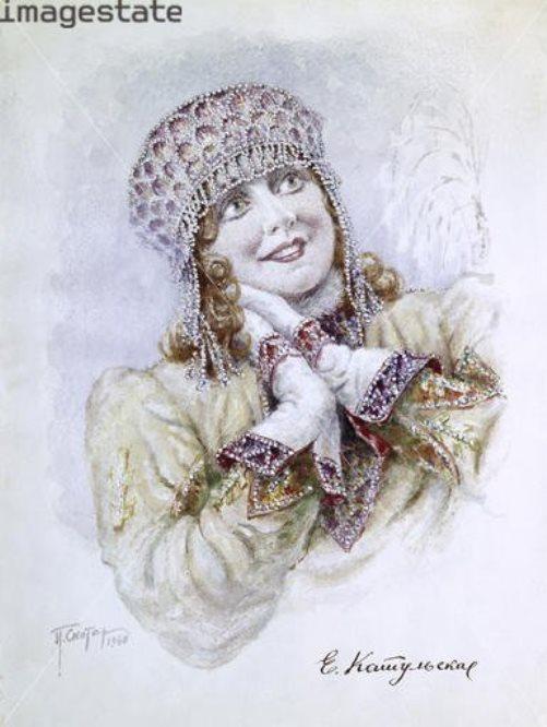 Yelena Katulskaya as the Snow Maiden in Rimsky-Korsakov's opera Snegurochka (The Snow Maiden)