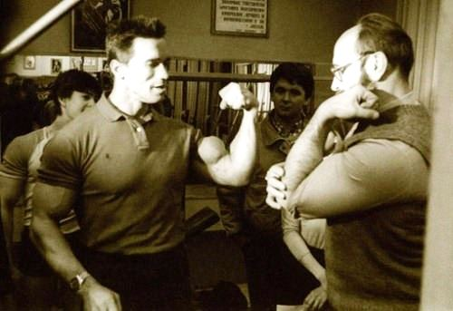 Russian sportsman Yuri Vlasov and Arnold Schwarzenegger, February, 1988