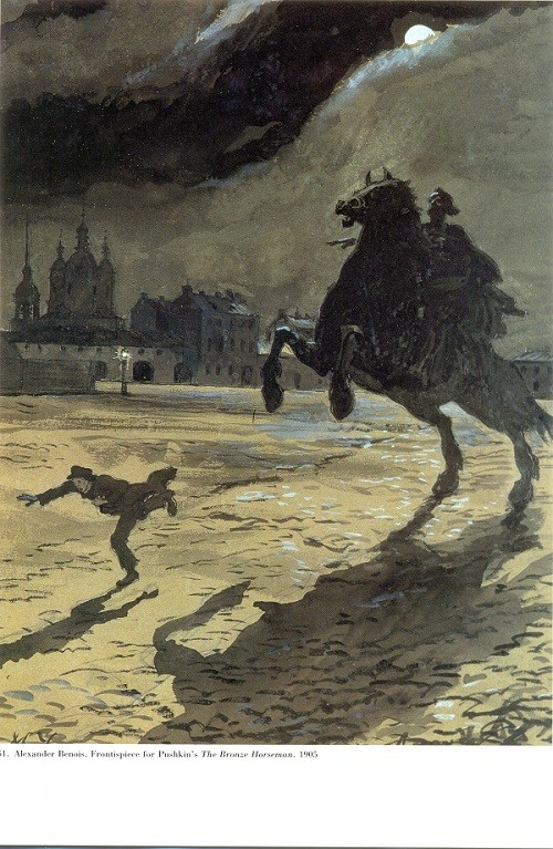 Alexander Benois. Fronisepiece for Pushkin's The Bronze Horseman, 1905. Watercolor heightened with the white paper. Pushkin Museum, St. Petersburg