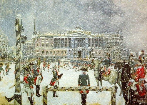 Russian artists Wanderers. Alexander Benois. Parade in the Reign of Paul I. 1907