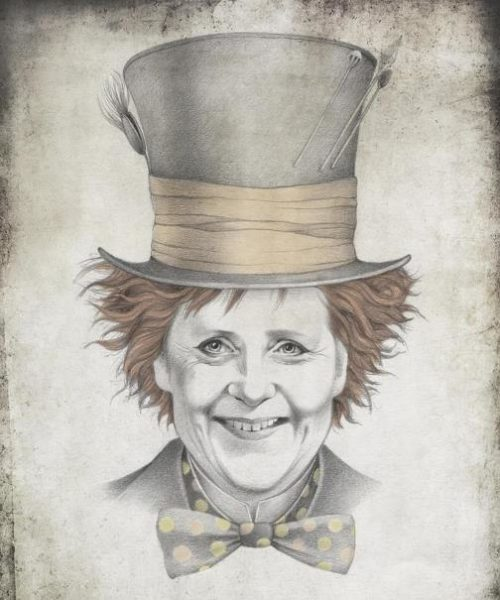 Angela Merkel, Chancellor of Germany. Political caricature by Viktoria Tsarkova