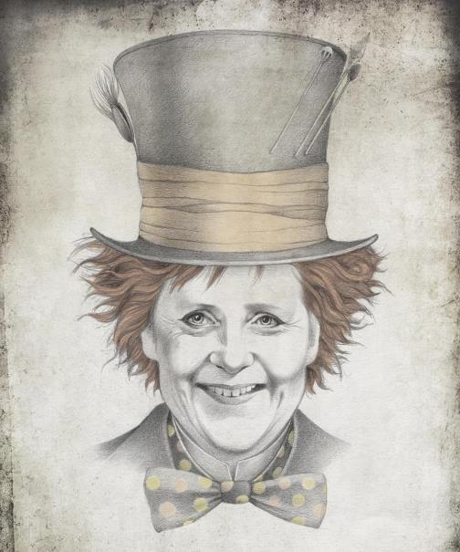 Angela Merkel, Chancellor of Germany. Political caricature by Viktoria Tsarkova