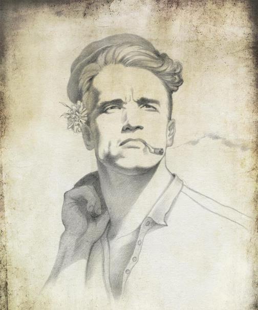 Arnold Schwarzenegger. Political caricature by Viktoria Tsarkova