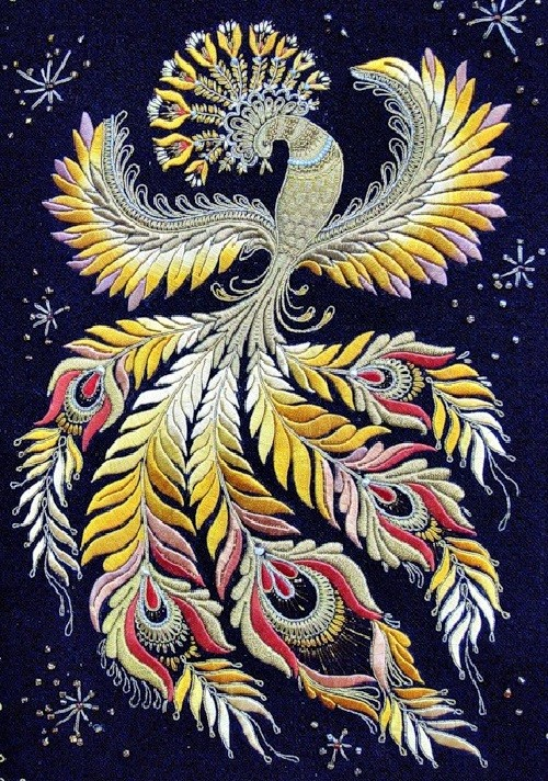Firebird. Represented in the museum of Gold embroidery school in Torzhok
