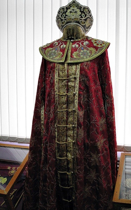 Gold embroidered folk dress. The museum of Gold embroidery school in Torzhok