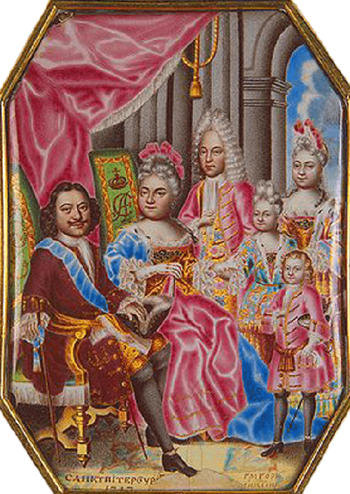 Peter the Great in paintings. Gregory S. Musikiysky. Family of Peter I in 1717