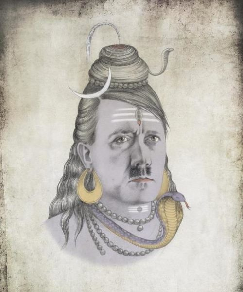 Hitler as Shiva. Political caricature by Viktoria Tsarkova