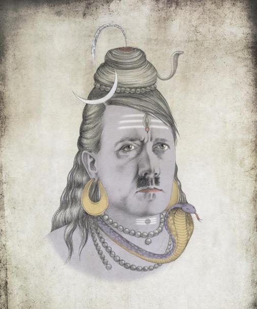 Hitler as Shiva. Political caricature by Viktoria Tsarkova