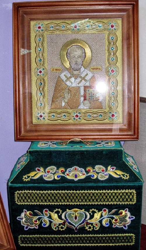 Icon in the museum of Gold embroidery school in Torzhok