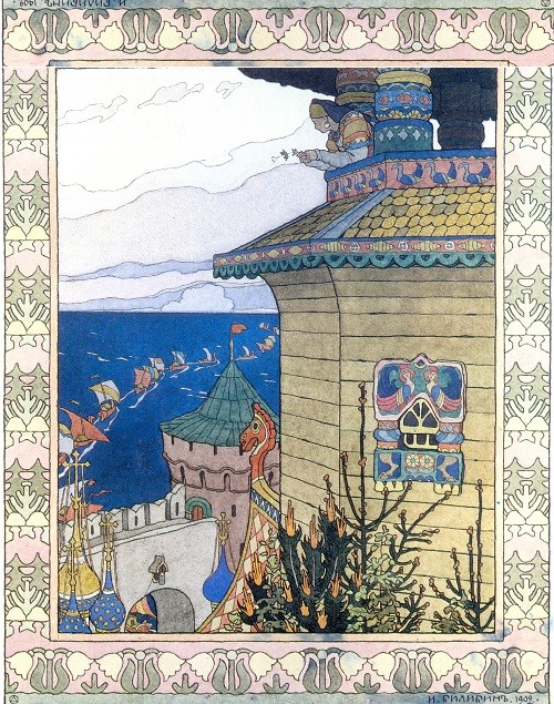 Russian artists Wanderers. Ivan Bilibin. The Princess in the Tower. Illustration for the fairy tale The Little White Duck. 1902