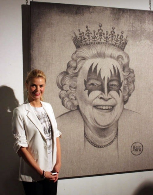 JUST A JOKE (Not politics, just a joke) - the title of the exhibition. Left - Author Victoria Tsar'kova, right - Queen Elizabeth II