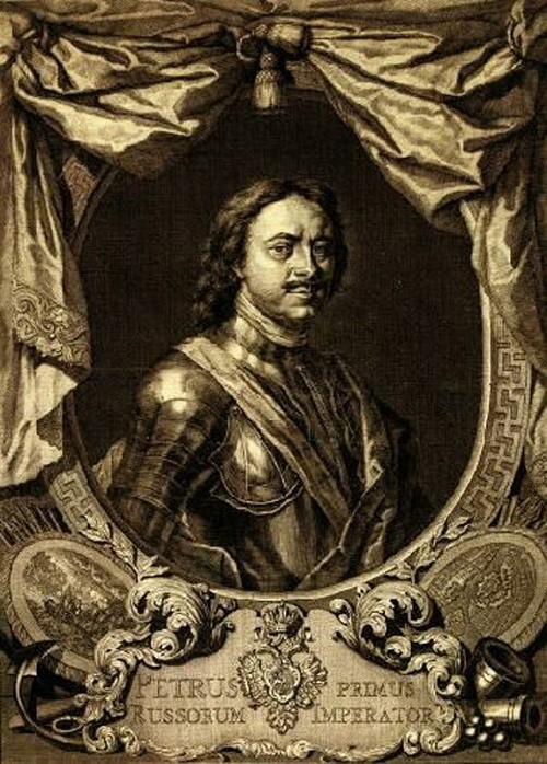 Jakob Houbraken. Peter the Great in paintings. Engraving on original by Karl Moor. 1718