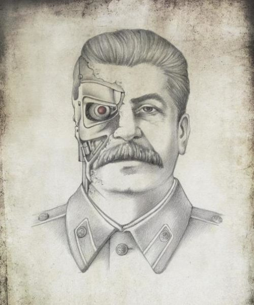 Joseph Stalin as Terminator. Political caricature by Viktoria Tsarkova