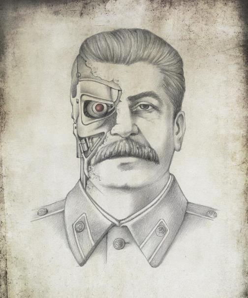 Joseph Stalin as Terminator. Political caricature by Viktoria Tsarkova
