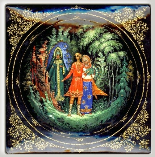 Laquer miniature box with the image of Stepan, his bride, and Mistress of Copper Mountain