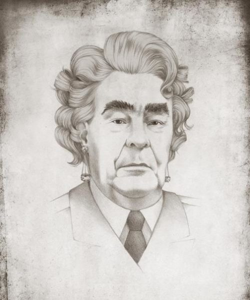 Leonid Brezhnev, General Secretary of the Communist Party of the Soviet Union, as Marilyn Monroe. Political caricature by Viktoria Tsarkova
