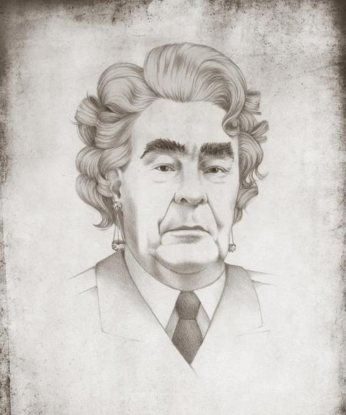 Leonid Brezhnev, General Secretary of the Communist Party of the Soviet Union, as Marilyn Monroe. Political caricature by Viktoria Tsarkova