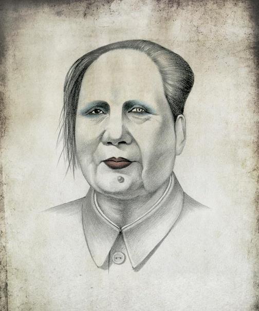 Mao Zedong, Chinese communist revolutionary and political theorist like Marilyn Manson. Political caricature by Viktoria Tsarkova