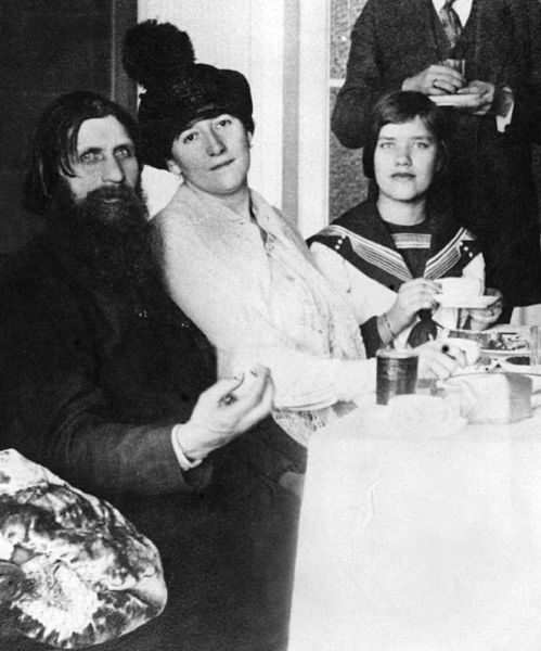 Matryona Rasputina - daughter of Grigori Rasputin, far right, with her father, Grigori, left, and her mother in the center, in 1914