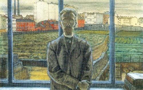 Russian artists Wanderers. Mstislav Dobuzhinsky. Man with. Portrait of the Art Critic and Poet Konstantin Sunnerberg. 1905-06