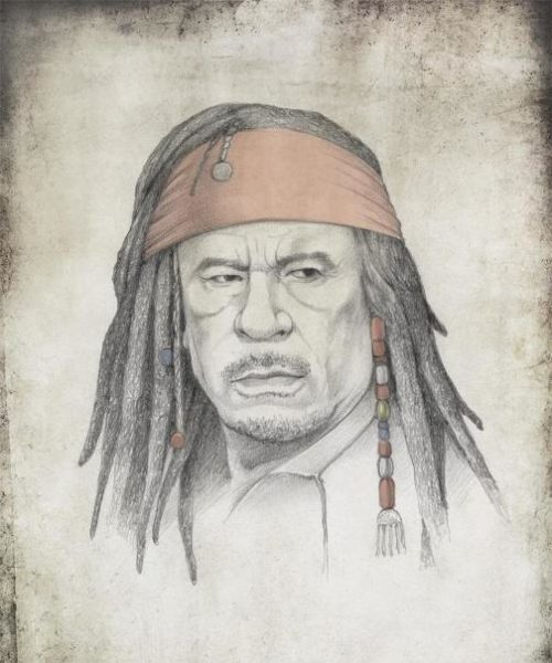 Muammar Gaddafi, as Captain Jack Sparrow. Political caricature by Viktoria Tsarkova