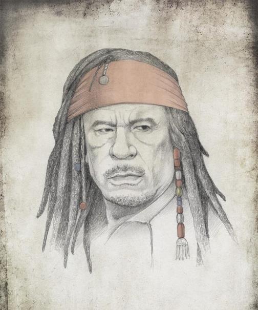 Muammar Gaddafi, as Captain Jack Sparrow. Political caricature by Viktoria Tsarkova