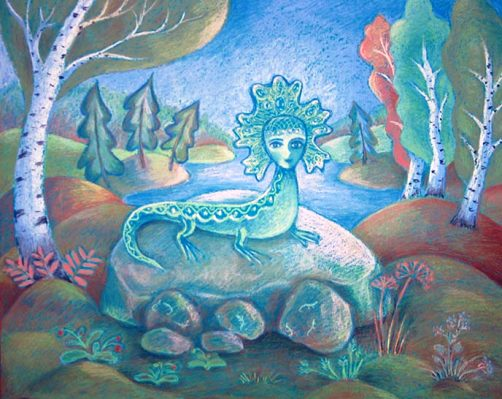 Once Stepan was found dead near the mine, with a frozen smile on his face. They saw a large lizard, who was crying over his body. Artist Natalia Shirokova