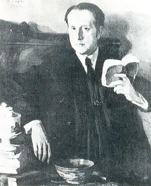 Russian artists Wanderers. Osip (Iosif) Braz. Portyrait of Mstislav Dobuzhinsky. 1922