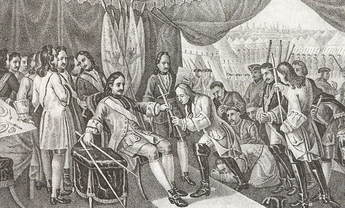 Peter I after the victory at Poltava returns sword to captive Swedish generals. 1709