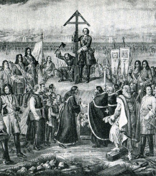 Peter the Great in paintings. Peter I hoisting the cross at the burial place of the fallen soldiers, June 28, 1709
