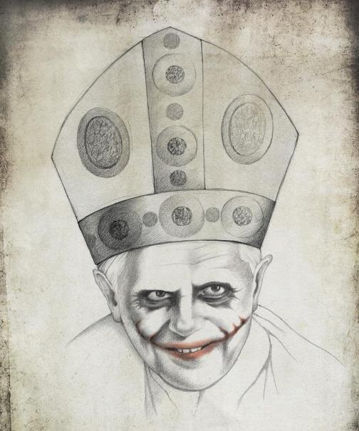 Pope Benedict XVI, as the Joker Heath Ledger. Political caricature by Viktoria Tsarkova