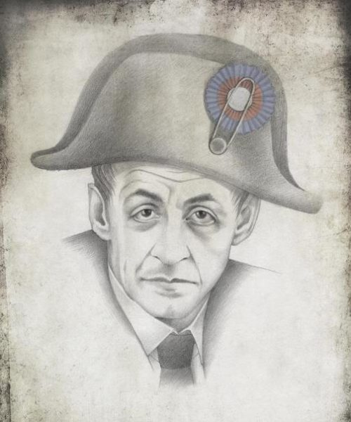 President of France Nicolas Sarkozy. Political caricature by Viktoria Tsarkova