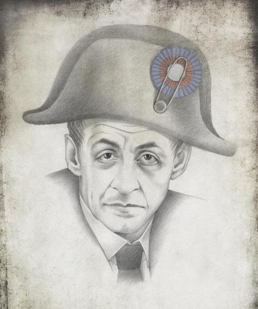 President of France Nicolas Sarkozy. Political caricature by Viktoria Tsarkova