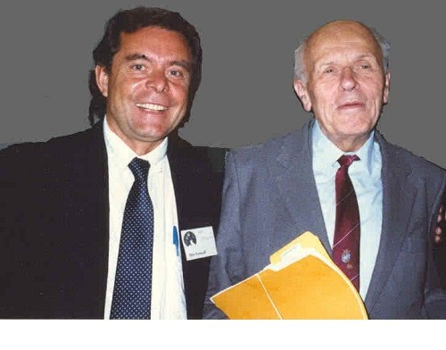 Pyotr Patrushev and Academician Andrei Sakharov at a conference in San Francisco. Sakharov promised to intercede on return Patrushev to Russia and detaching him from the judgment