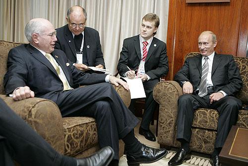 Pyotr Patrushev interprets for Prime Minister Howard & President Putin