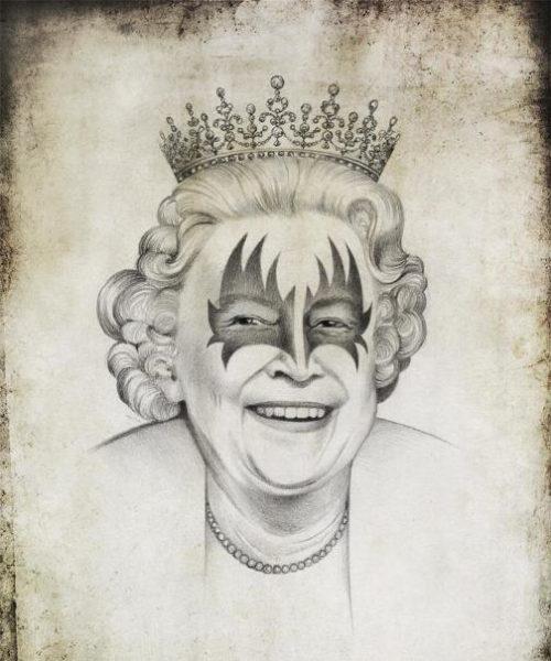 Queen Elizabeth II. Political caricature by Viktoria Tsarkova