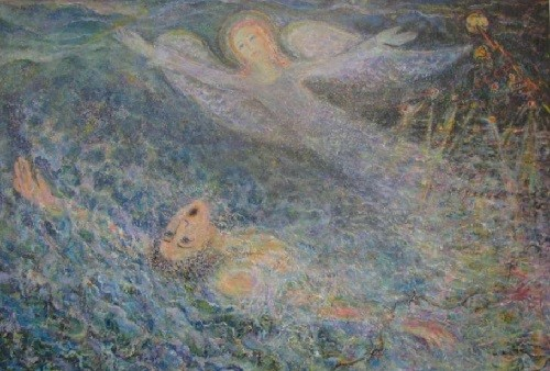 Russian artist Slava Fiantsev painted this picture inspired by heroic act of Pyotr Patrushev