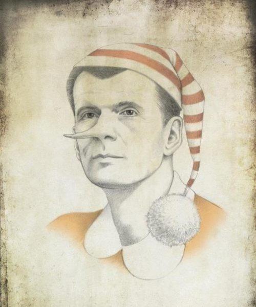 Russian tycoon Mikhail Prokhorov. Political caricature by Viktoria Tsarkova