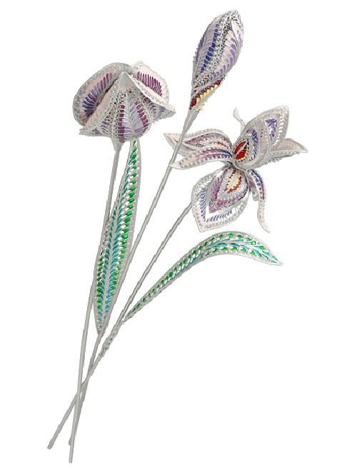 Souvenir 'Irises'. Author V.N. Poltaev, performers - L.K. Motina, O.A. Kirpichnikova, L.N. Myasnikov, technology - scan-filigree, sawing, enamel inserts - amethyst