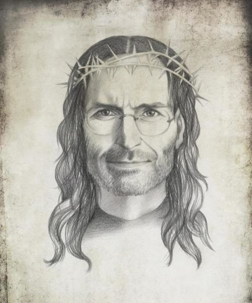 Steve Jobs, as Jesus Christ. Political caricature by Viktoria Tsarkova