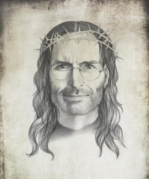 Steve Jobs, as Jesus Christ. Political caricature